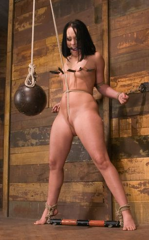 Lovely subgirl is taken to the limit with extreme crotch rope in her pussy