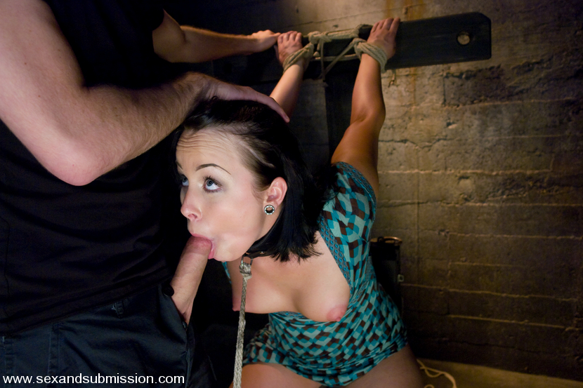 Picture of beautiful slave Alexa Von Tess forced to suck a cock
