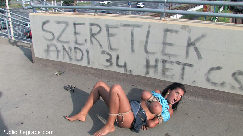 Image of tied babe fucked abd left alone on the street