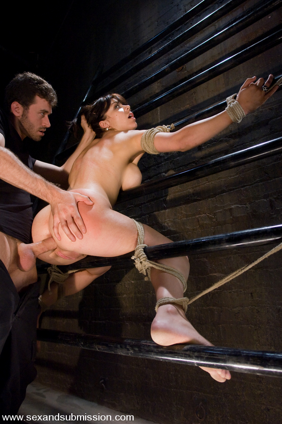 Picture of a lovely bondage slave Beverly Hills fucked in her tight ass