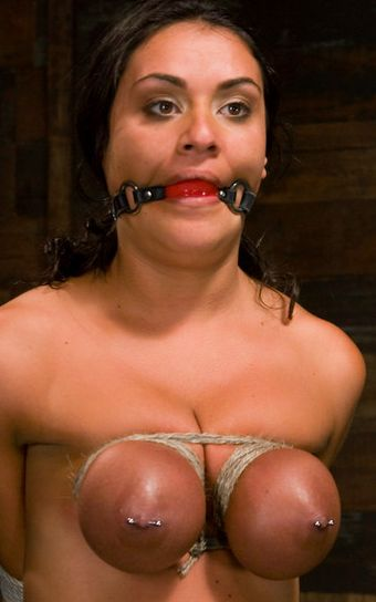 Breast bondage picture. Charley Chase got her tits tied with rope