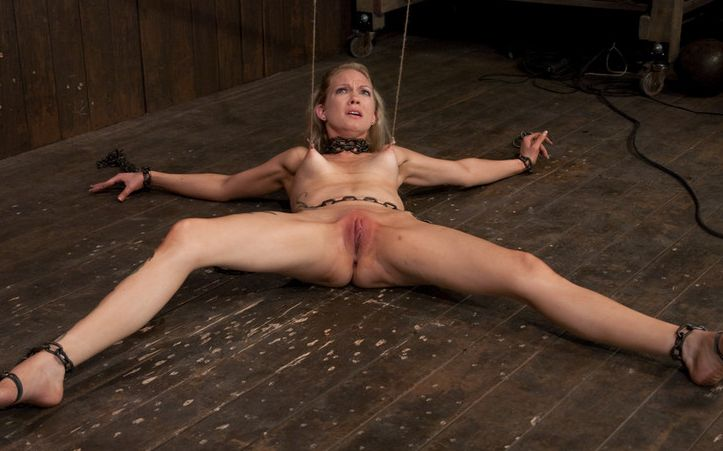 Picture of Rain DeGrey in bondage and tit tortured