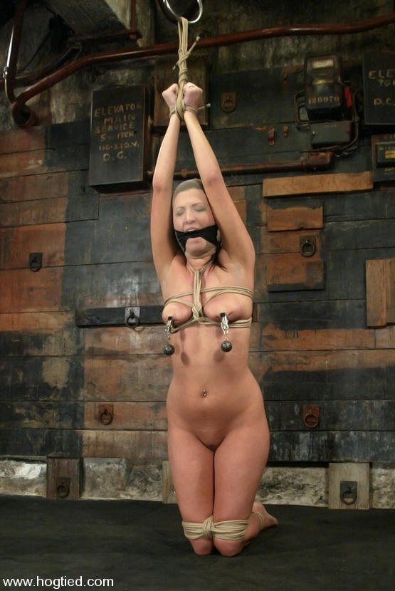 Kneeling BDSM slave tortured with tight nipple clamps