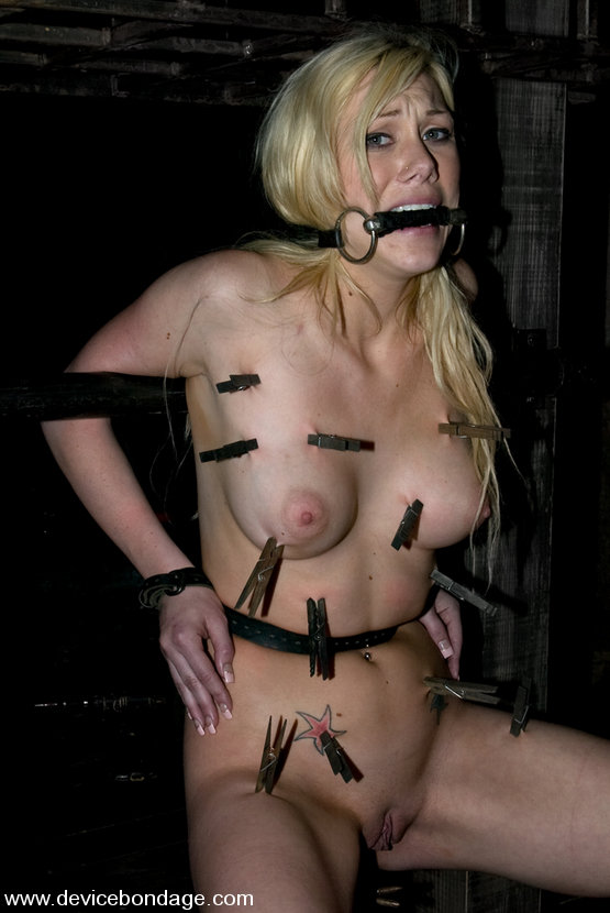 Samantha Sin nude and put in unusual bondage pose