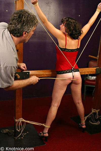 Pussy hook torture for female bondage slave