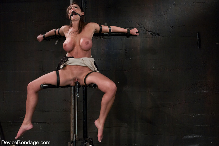 Fucking machine is used for BDSM slave penetration