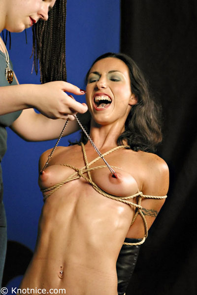 Slavegirl wearing monoglove and got her nipples tortured