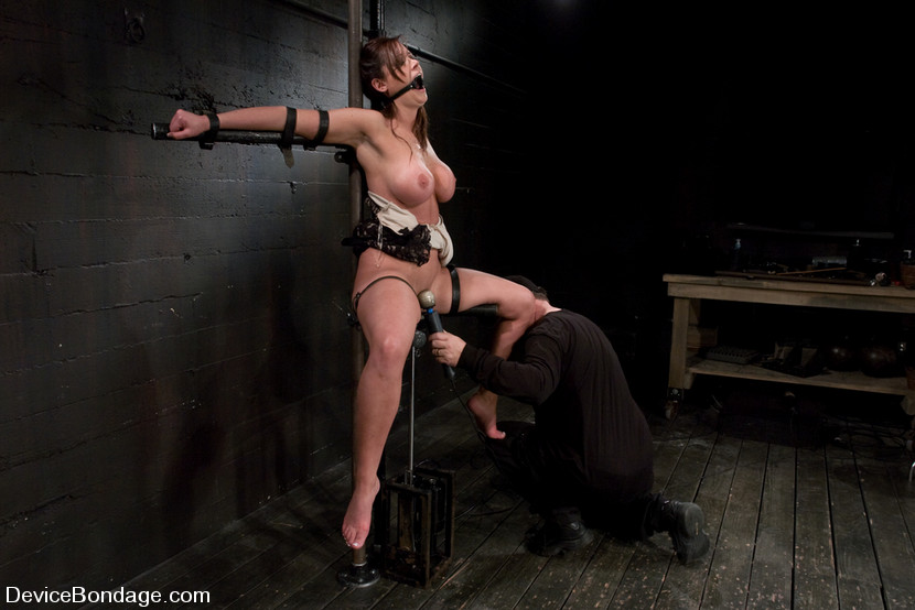 Tied spread eagle female forced to come in bondage
