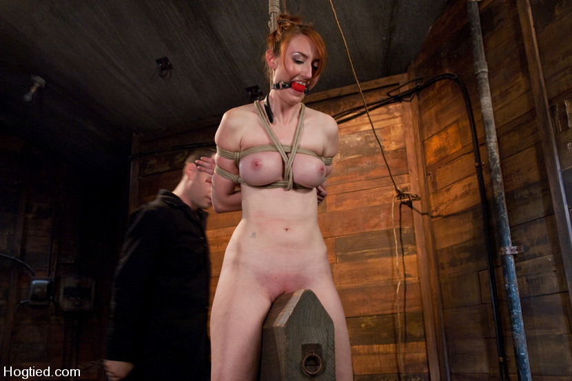 Ball gagged female slave is riding wooden pony device