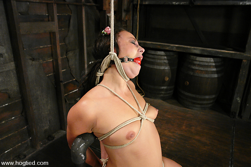 Ball gagged female strangled with rope noose