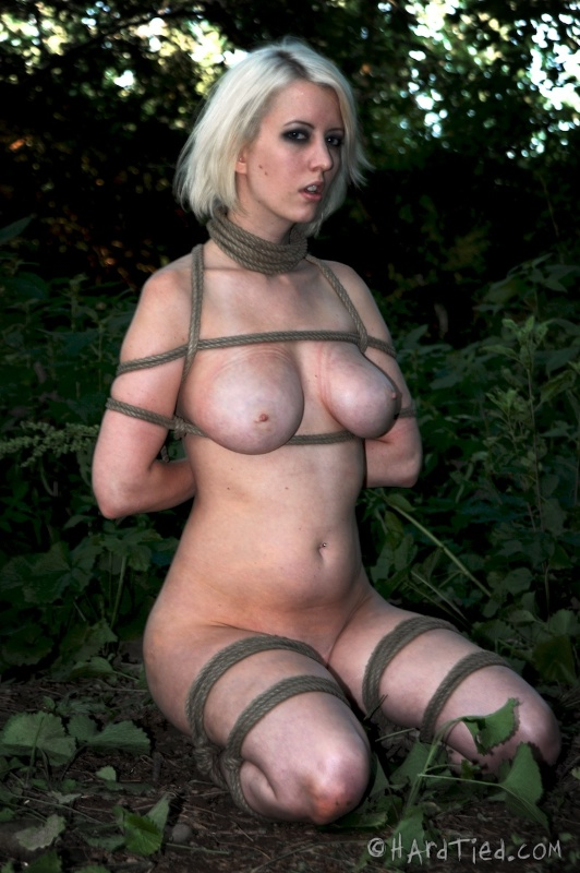 Kneeling slut is ready to to the bondage blowjob while tied up with ropes