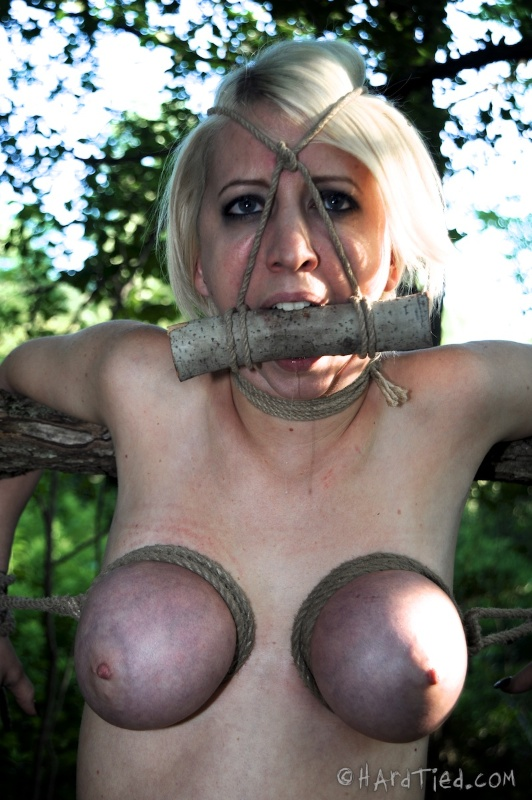 Tied tits of gagged bondage whore are exposed to the sunlight