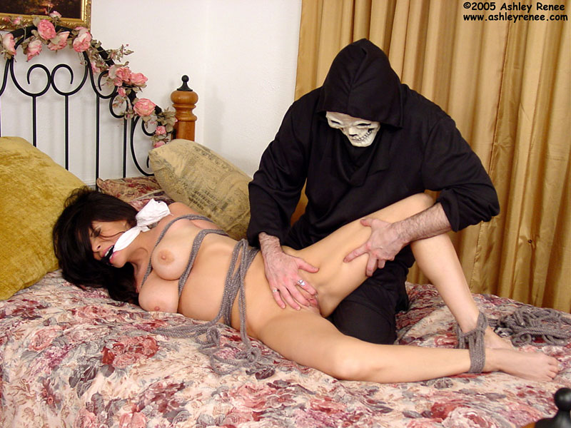 Helpless woman is tied up and being taken advantage of