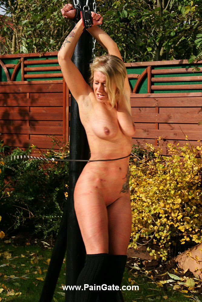 tied yard back Wife naked