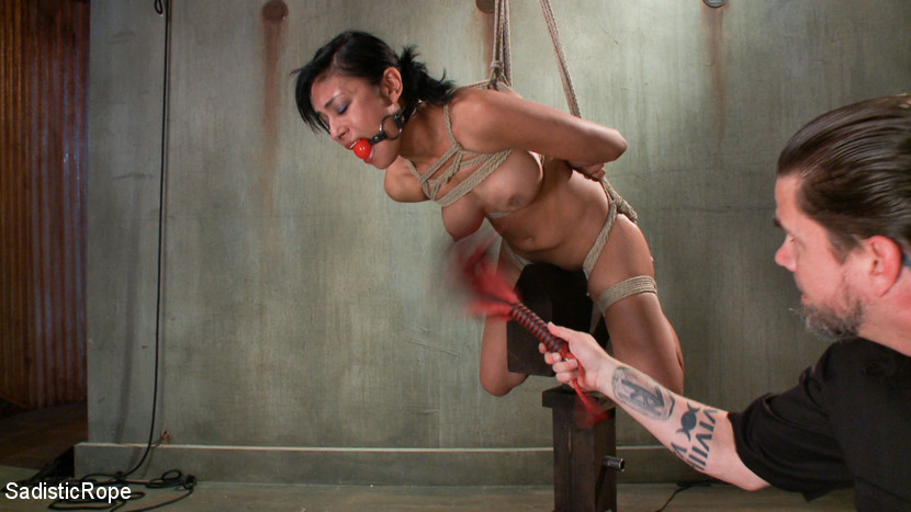 Sadistic wooden horse torture and extremely painful breast whipping