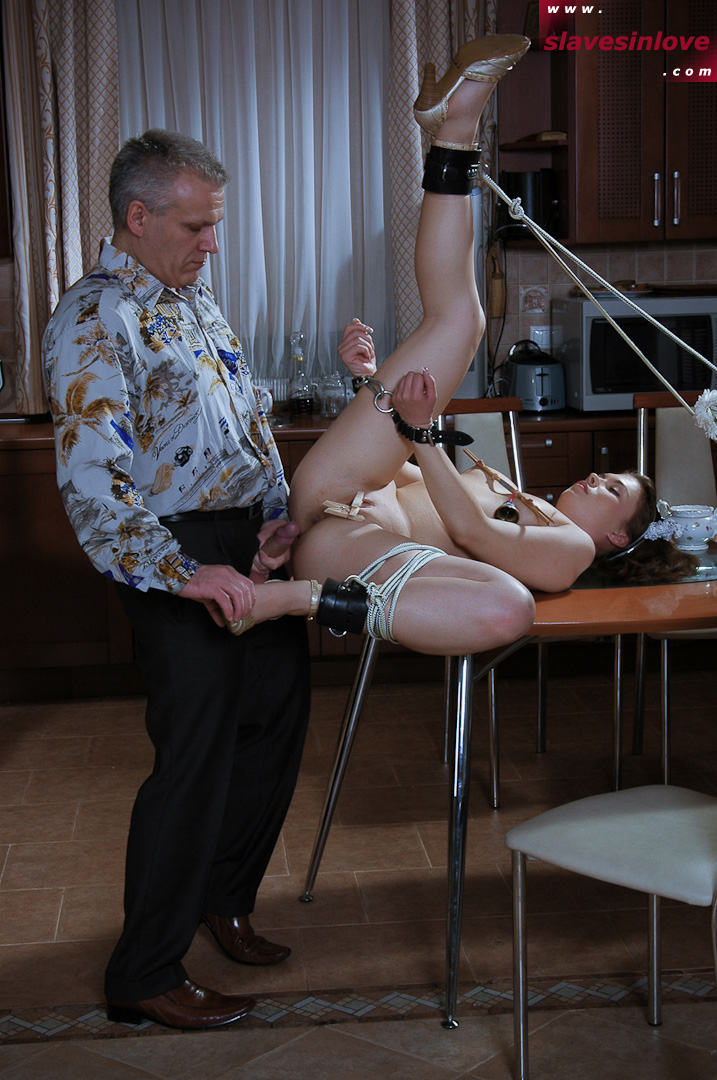 Maid is tied up and fucked on the table for being lazy