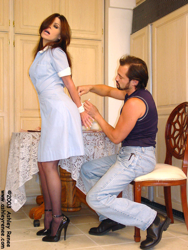 Waitress is forced and getting tied up with rope