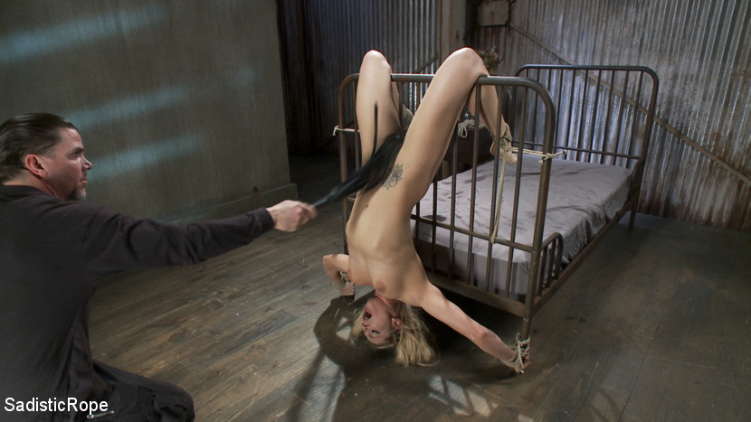 Bedroom bondage is combined with pussy whipping punishment