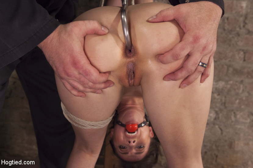 Subgirl is tortured with huge steel hook placed deep inside her tight ass