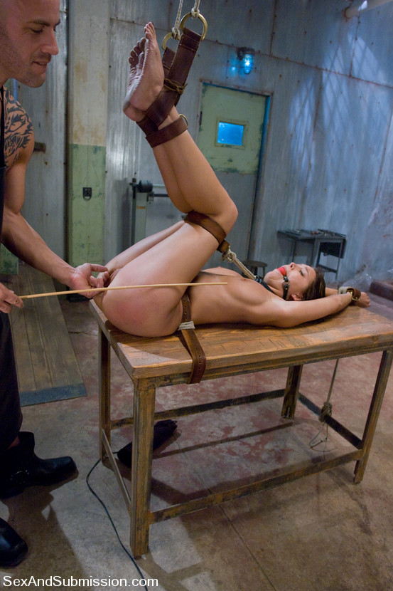 Girl is exposed on the BDSM rack: tied up with leather belts and caned
