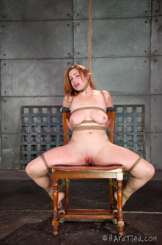 Chair-tied woman is all nude, helpless and prepared for the hanging torture