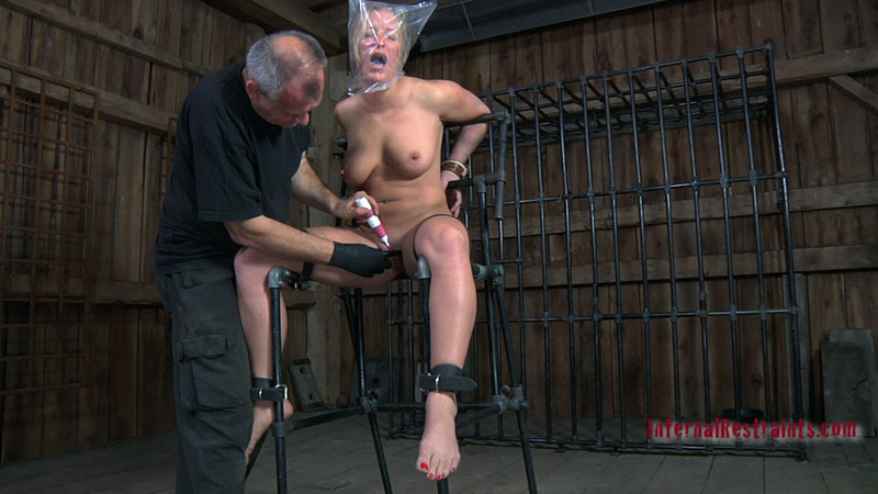 Plastic bag is making helpless girl cum when she is gasping for air in BDSM restraints