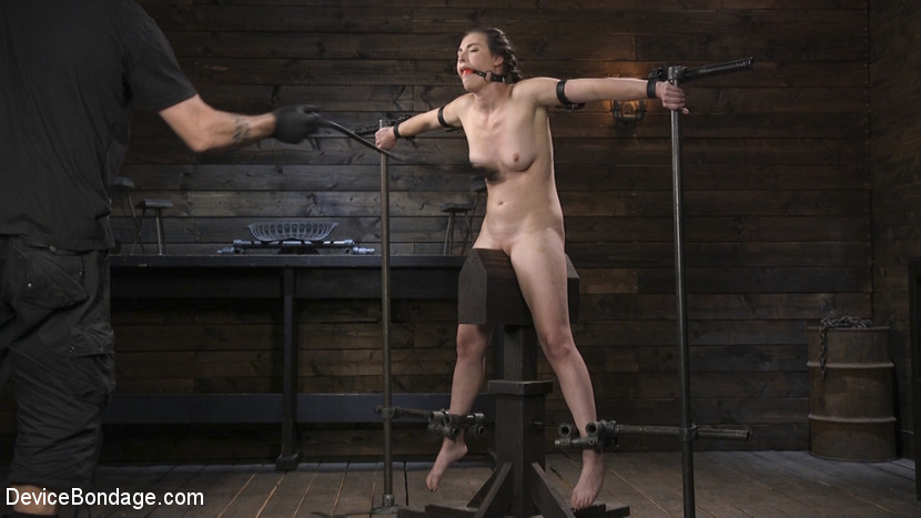 Naked girl is put on top of the BDSM horse and then spread with bizarre devices