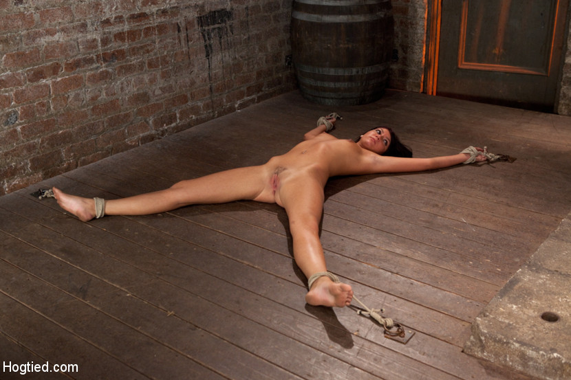 Pretty submissive is ann nude and tied spread on the floor