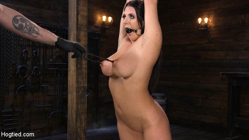 Plump girl is into BDSM torment where her sensual nipples are being pulled