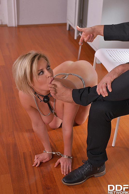 Handcuffed blond is put on all fours and her ass is hooked