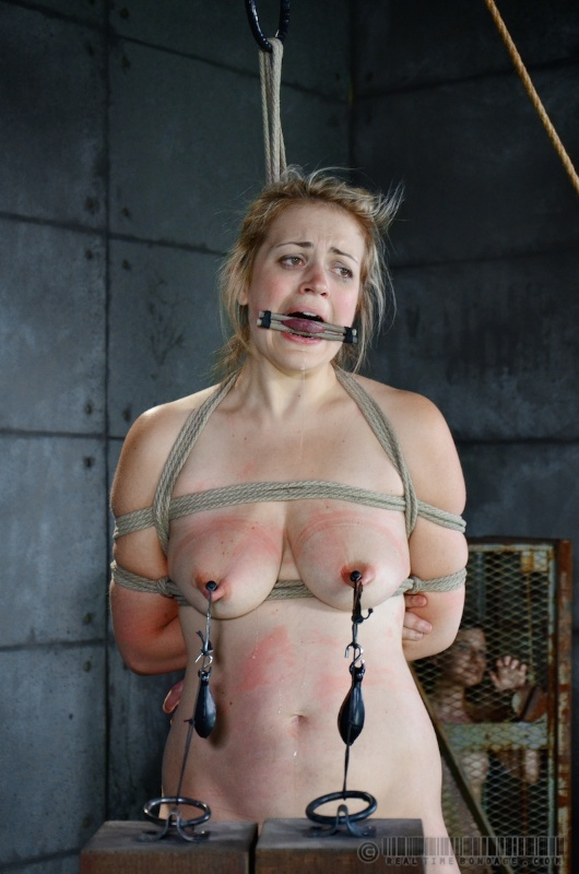 Tits are put in extreme pain with clamps and heavy lead weights