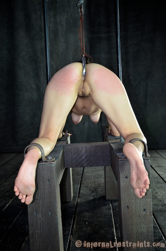 Tormenting exposed woman with ass hook insertion while clamped helplessly to the BDSM rack