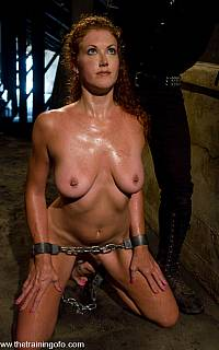 Slave Sabrina Fox on her knees and chained