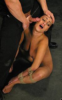 Bondage slave Charley Chase got her face slapped with dick