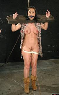 Nude slave Beverly Hills put in wooden stocks