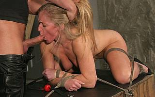 Bondage blowjob: Dia Zerva on all fours and fucked in her mouth