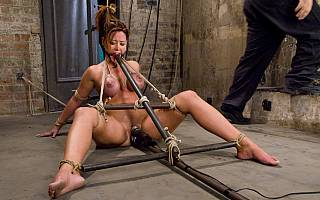 Bizarre BDSM ties applied to mature bondage babe Christina Carther