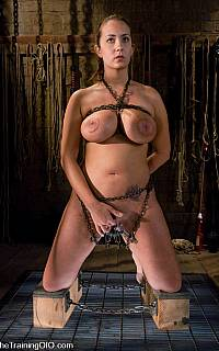 Trina Michaels is having her body restrained with chains