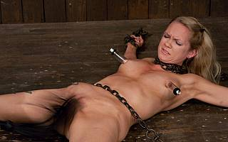 Rain DeGrey in bondage and her pussy whipped