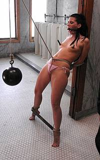 Ariel X tortured with crotch rope and clamps