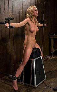 Machine fucking and wooden pony pussy stretching