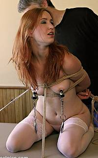 Slave Calico with nipple clamps