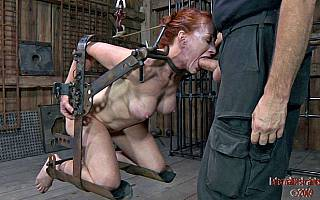 BDSM rack for a cock sucking MILF slave