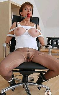 Mature pantyhose cut with knife