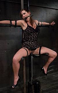 Tied spread eagle MILF lady