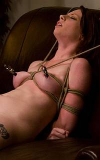 Bondage slave with nipple clamps (May 2010)