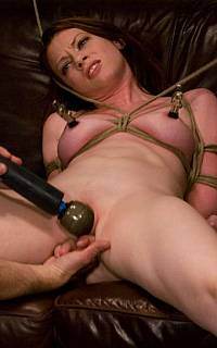 BDSM girl with nipple clamps ejaculates hard (May 2010)
