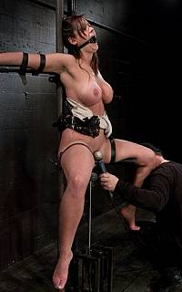 Forced orgasm of tied spread eagle lady