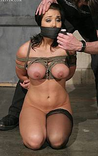 Breast bondage slave cleave gagged
