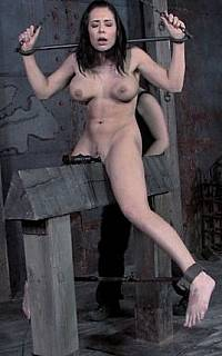 BDSM slave exposed on the wooden pony